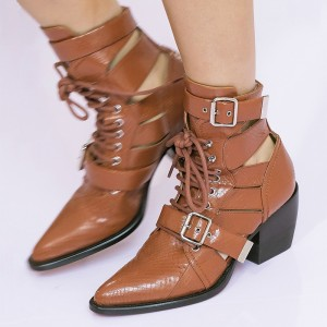 Tan Python Buckles Lace Up Fashion Boots Block Heel Ankle Boots
