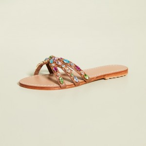 Tan Rhinestone Women's Slide Sandals