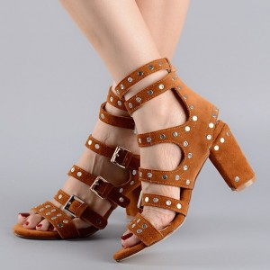 Tan Sandals Open Toe Buckles Studded Block Heels