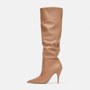 Tan Slouch Boots Pointy Toe Stiletto Heel Knee High Boots