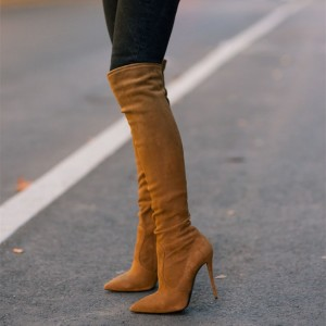 Tan Knee Boots Stiletto Heel Pointy Toe Suede Shoes