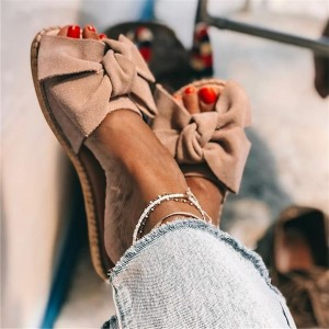 Taupe Suede Bow Women's Slide Sandals