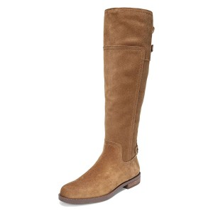 Tan Suede Flat Knee Boots Knee High Boots