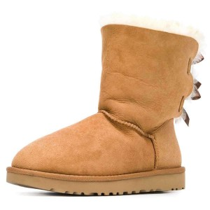 Tan Suede Flat Winter Boots with Bow
