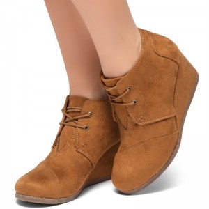 Tan Suede Lace Up Wedge Booties Ankle Boots