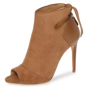 Tan Suede Peep Toe Cut Out Bow Stiletto Heel Ankle Booties