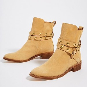 Tan Suede Studs Buckle Flat Ankle Booties