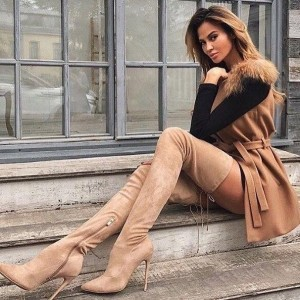 Tan Suede Thigh High Heel Boots