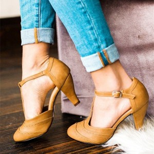 Tan T Strap Heels Almond Toe Chunky Heel Pumps