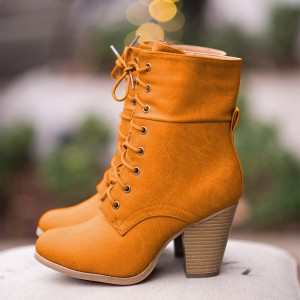 Tan Vintage Boots Lace up Chunky Heel Retro Ankle Boots