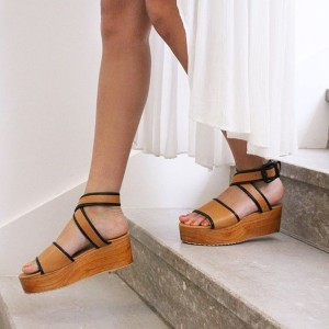 Tan Wedge Heel Ankle Strap Buckle Platform Sandals