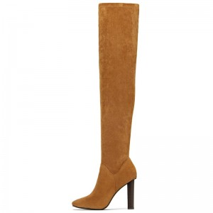 Tan Zipper Suede Boots Almond Toe Chunky Heel Thigh High Boots