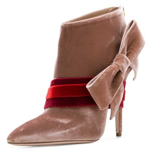 Blush Velvet Boots Pointy Toe Strappy Side Bow Fashion Ankle Booties
