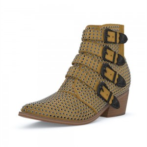 Taupe Buckles Studs Fashion Boots Block Heel Ankle Boots
