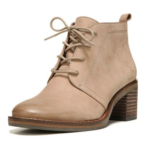 Taupe Short Boots Round Toe Lace up Wooden Block Heel Ankle Boots