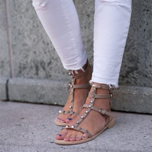 Taupe Studs Gladiator Sandals Open Toe Flat Sandals
