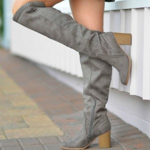 Taupe Suede Boots Chunky Heel Knee High Boots