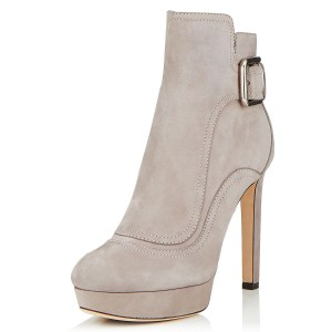 Taupe Boots Round Toe Fashion Platform Ankle Boots for Office Ladies