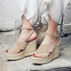 Women's Nude Wedge Sandals Ankle Strap Open Toe Platform Shoes