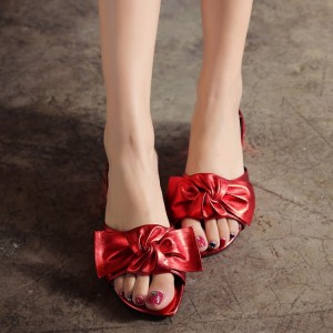 Red Summer Women's Slide Sandals Open Toe Low Heel Bow Sandals