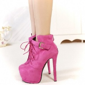 Fuchsia Lace up Boots Suede Platform High Heel Shoes for Women