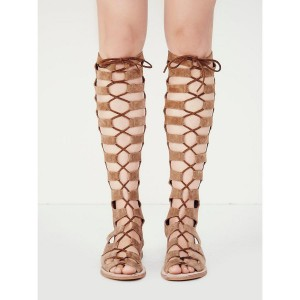 Women's Khaki Knee-high Suede Flat Gladiator Sandals