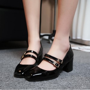 Women's Black Mirror Patent Leather Vintage Heels Mary Jane Shoes