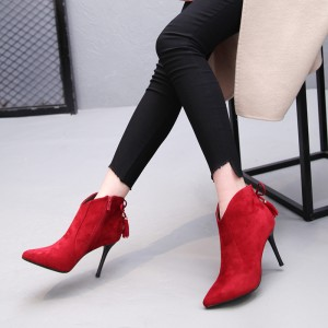 Red Stiletto Boots Fashion Suede Heeled Ankle Booties