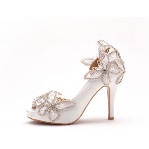 Women's White Glitter Rhinestone Peep Toe Wedding Heels