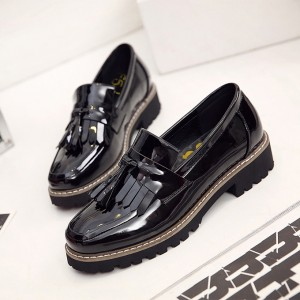 Black Vintage Shoes Comfortable Fringe Flats for Girls