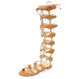 Khaki Gladiator Sandals Knee-high Strappy Flats