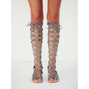 Women's Grey Strappy Gladiator Sandals Suede Knee-high Lace-up Flats