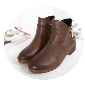 Women's Brown Round Toe Chunky  Heels Ankle Vintage Boots