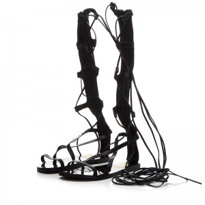 Black Strappy Flat Women's  Gladiator Sandals