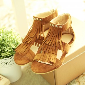 Women's Brown Suede Tassels Rivets  Flat Vintage Sandals