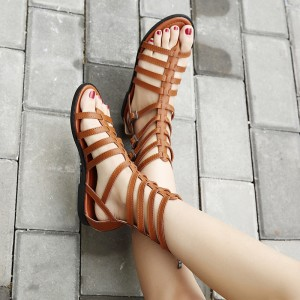 Tan Gladiator Sandals Open Toe Comfortable Summer Sandals