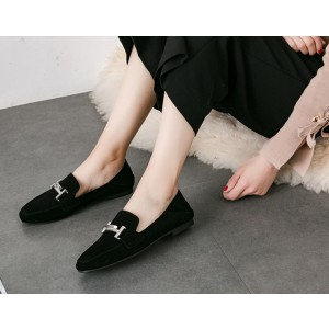 Black Vintage Shoes Slip-on Suede Comfortable Flats