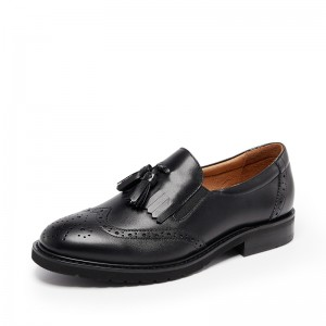 Black Round Toe Flat Wingtip Shoes Vintage Women's Oxfords