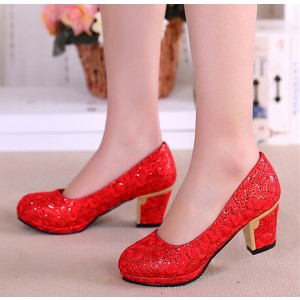 Women's  Red Lace Floral-printed Round Toe Vintage Heel Bridal Shoes