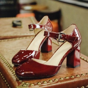 Maroon Patent Leather Vintage Heels Square Toe Block Heel Pumps