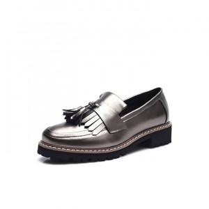 Sliver Tassels Patent Leather Vintage Women's shoes
