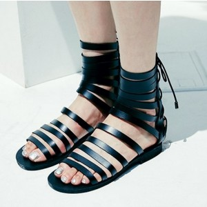 Black Ankle High Women's Flat Gladiator Sandals