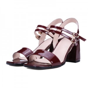 Women's Red Patent Leather Sling Back Chunky Heel Sandals