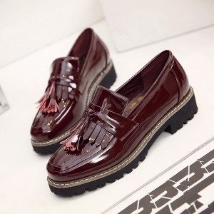 Burgundy Patent Leather Square Toe Fringe and Tassel Loafers for Women