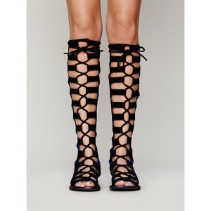 Black Gladiator Sandals Suede Women's Lace-up Flats