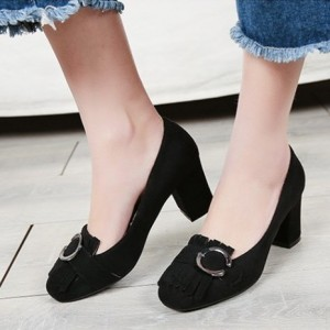 Women's Black Suede Square Toe Chunky Heels Tassels Shoes