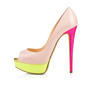 Nude and Pink Peep Toe Platform Stiletto Heels Pumps