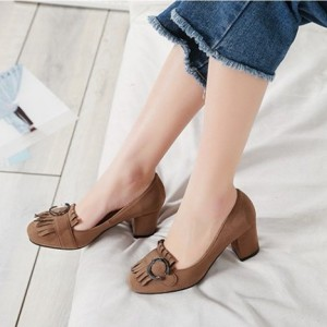 Brown Vintage Heels Fringe Suede Shoes Chunky Heel Pumps