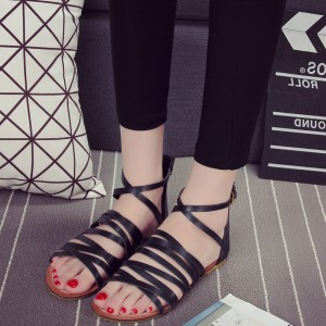Women's Black Flats Open Toe Gladiator Ankle Strap Sandals