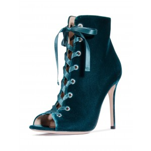 Teal Lace Up Velvet Boots Stiletto Heel Peep Toe Ankle Boots